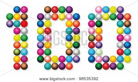 Hundred Balls Dots Points Colors Number White