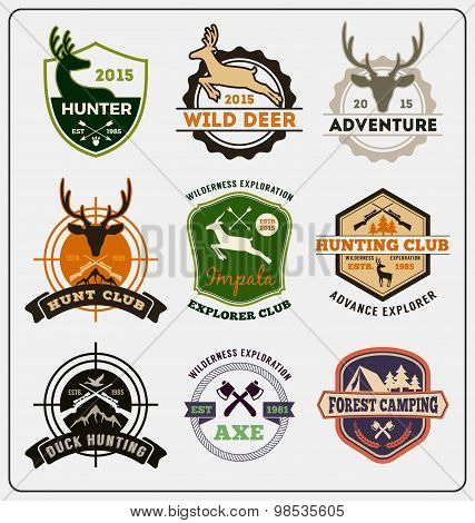 Set Of Hunting And Adventure Badge Logo Design For Emblem Logo, Label Design, Insignia