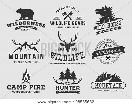 Set Of Outdoor Wilderness Adventure And Mountain Badge Logo, Emblem Logo, Label Design