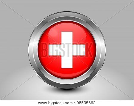 Flag Of Switzerland. Metal Round Icon