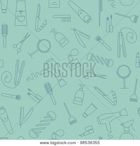 Beauty salon seamless pattern. Barber shop linear icons