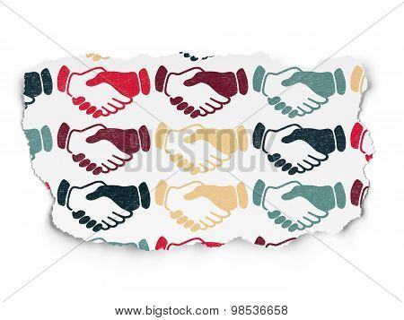 Political concept: Handshake icons on Torn Paper background