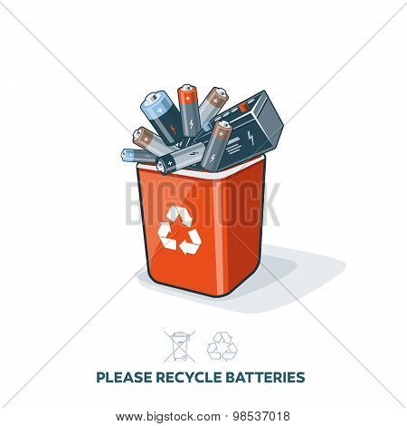 Used Batteries In Recycling Bin