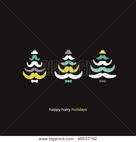 Have a hairy christmas hipster mustache facial hair tree with bow and hat illustration postcard cover design template in vector