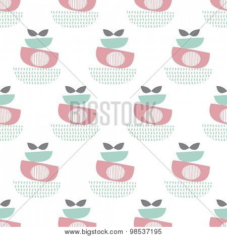 Seamless retro style abstract fruit bowl illustration pastel scandinavian style background pattern in vector