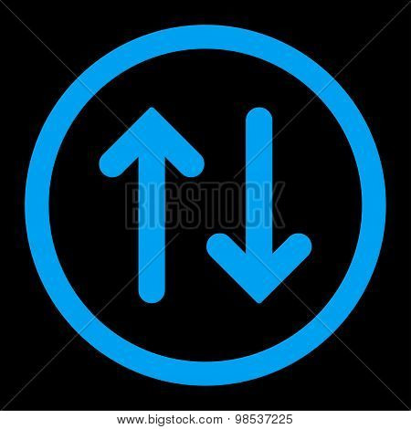 Flip flat blue color rounded vector icon
