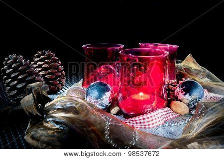 Christmas Decoration With Red Lanterns