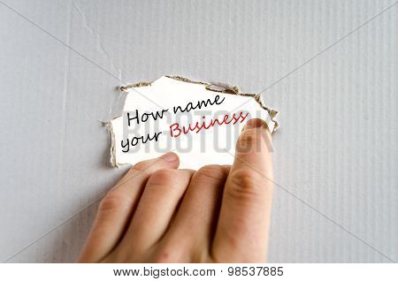 How Name Your Business Text Concept