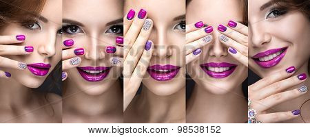 Beautiful girl with a bright evening make-up and pink manicure rhinestones. Nail design. Beauty face