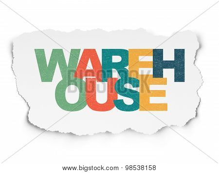 Industry concept: Warehouse on Torn Paper background