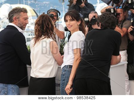 Vincent Cassel, Emmanuelle Bercot, Maiwenn Le Besco and Louis Garrel attend the 'Mon Roi' photocall during the 68th annual Cannes Film Festival on May 17, 2015 in Cannes, France.