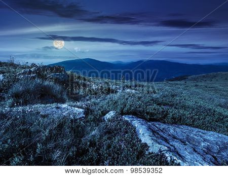 Stones In Valley On Top Of Mountain Range At Night