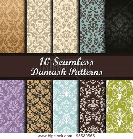 Set Of  Damask Seamless Patterns
