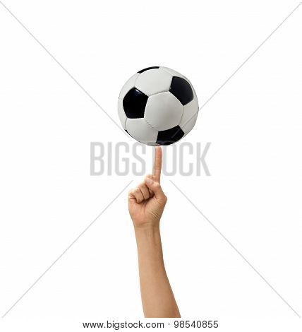 Soccerball In A Hand The Isolated