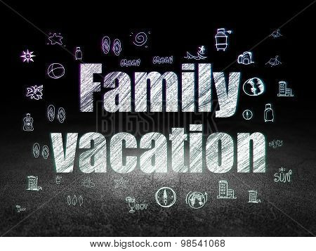 Tourism concept: Family Vacation in grunge dark room