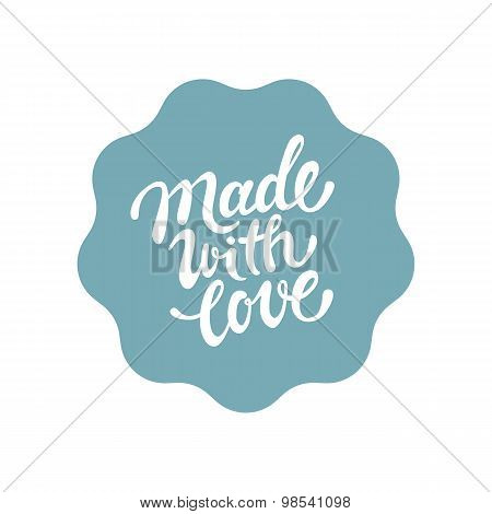 Vector Label And Badge With Hand-lettering Type - Handcrafted Stamp For Homemade Products And Shops
