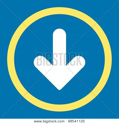 Arrow Down flat yellow and white colors rounded vector icon