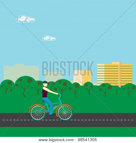 Men Riding A Bicycle In  Park