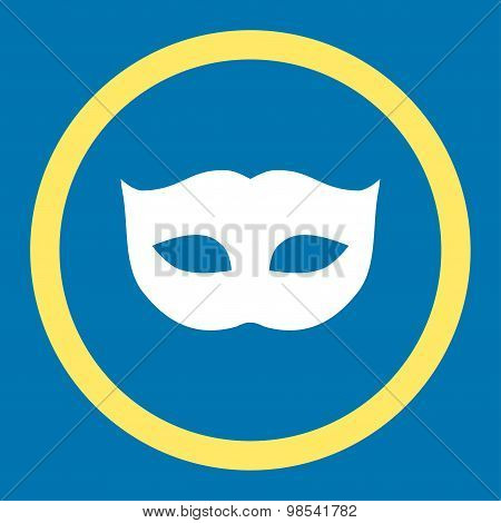 Privacy Mask flat yellow and white colors rounded vector icon