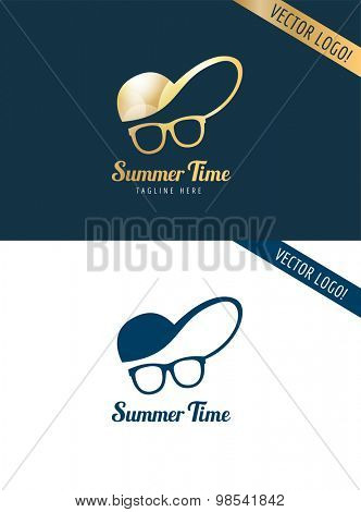 Face with glasses and cap logo icon template. Hipster, summer, man head or travel, young, beauty fashion. Design element
