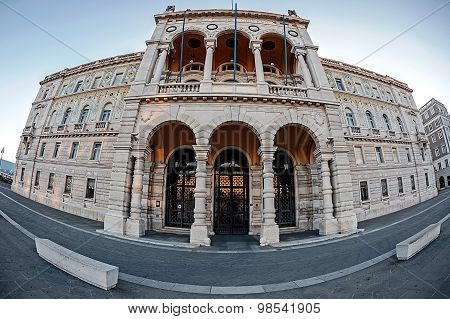 Fisheye View Of Government Palace In Trieste, Italy