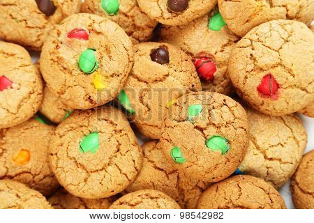Cookies With Colorful Candy Background