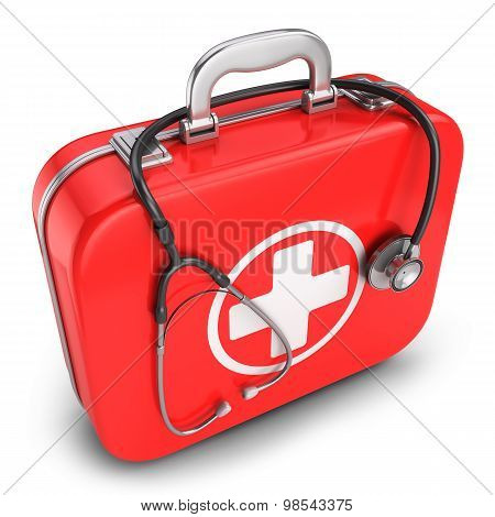 First Aid Kit Box And Stethoscope