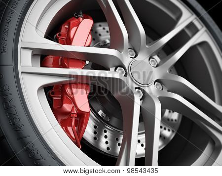 Car Wheel And Brake System. Closeup.