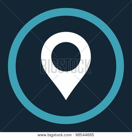 Map Marker flat blue and white colors rounded vector icon
