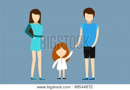 Happy family together. Portret, home, happy. Mother, father, girl. Family time, summer, vacation. Relationships. People cartoon characters