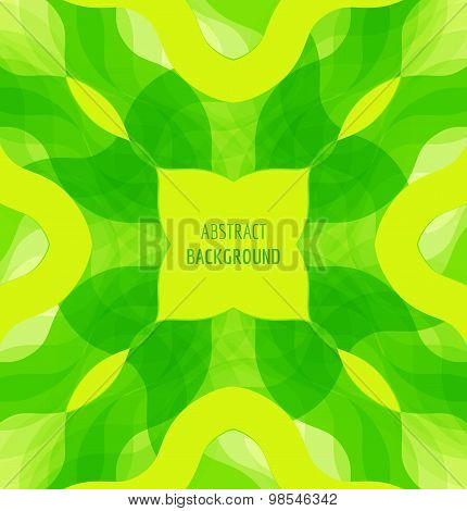 Abstract green waves background with banner