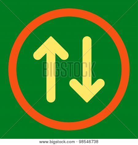 Flip flat orange and yellow colors rounded vector icon
