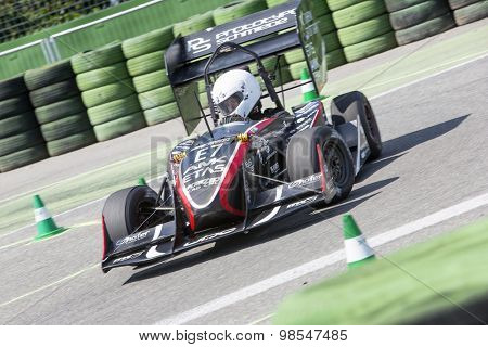 HOCKENHEIM, GERMANY - AUGUST 1, 2015: An electronic concept car during the world championships of the formula student design competition during the dynamic endurance on the hockenheimring circuit.