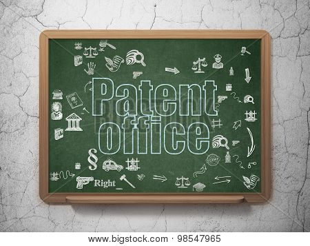 Law concept: Patent Office on School Board background