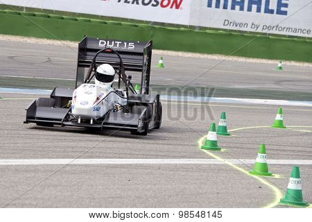 HOCKENHEIM, GERMANY - AUGUST 1, 2015: The electronic ra�§e car DUT15 of Formula Student Team Delft during the autocross event at the Hockenheim ring in Germany