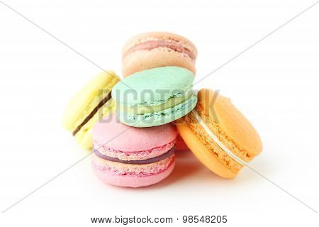 French Colorful Macarons Isolated On White