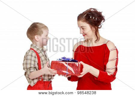 Mom gives son a gift