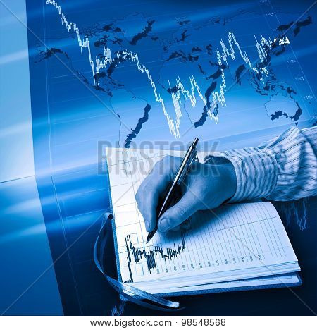 Man's Hand, Notes And Diagrams. Business And Finance