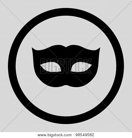 Privacy Mask flat black color rounded vector icon