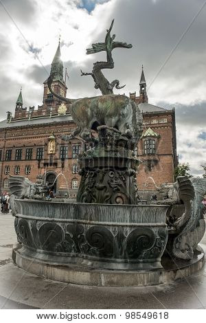 Dragon Fountain, City Hall Square In Copenhagen, Denmark