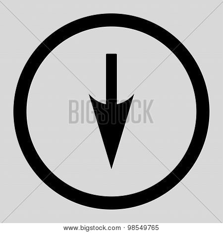 Sharp Down Arrow flat black color rounded vector icon