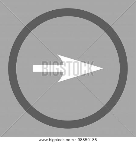 Arrow Axis X flat dark gray and white colors rounded vector icon