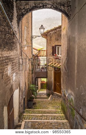 Medieval Mediterranean Narrow Street With Old Houses