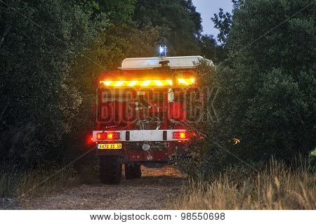 Fire Trucks In A Forest Road