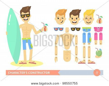 Characters constructor young fit man on the beach