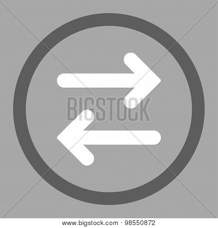 Flip Horizontal flat dark gray and white colors rounded vector icon