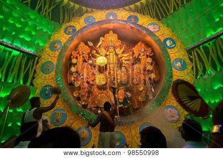 Kolkata , India - October 1, 2014 : Durga Puja Festival, Documentary Editorial