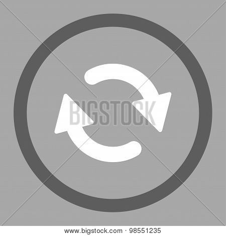 Refresh flat dark gray and white colors rounded vector icon