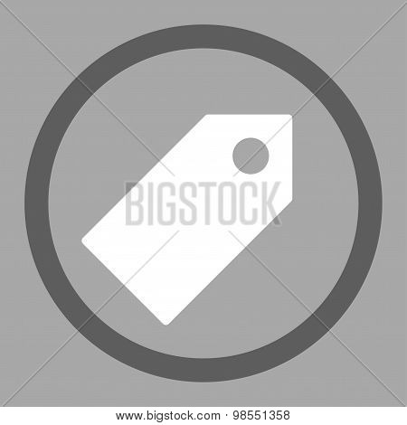 Tag flat dark gray and white colors rounded vector icon