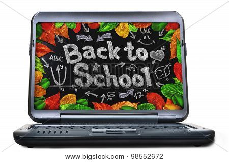 Laptop with blackboard screen. Back to school concept